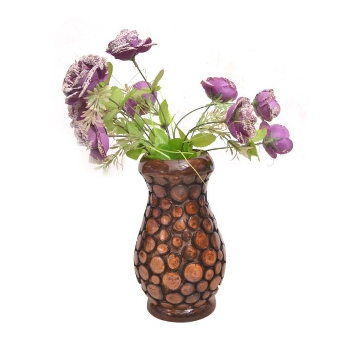 Onlineshoppee Wooden Antique Flower Vase With Handwork Design LxBxH-7x7x12 inch