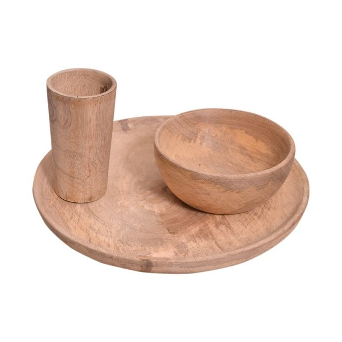 Onlineshoppee Wooden Handmade Brown 1 Plate,1 Water Glass,1 Bowl