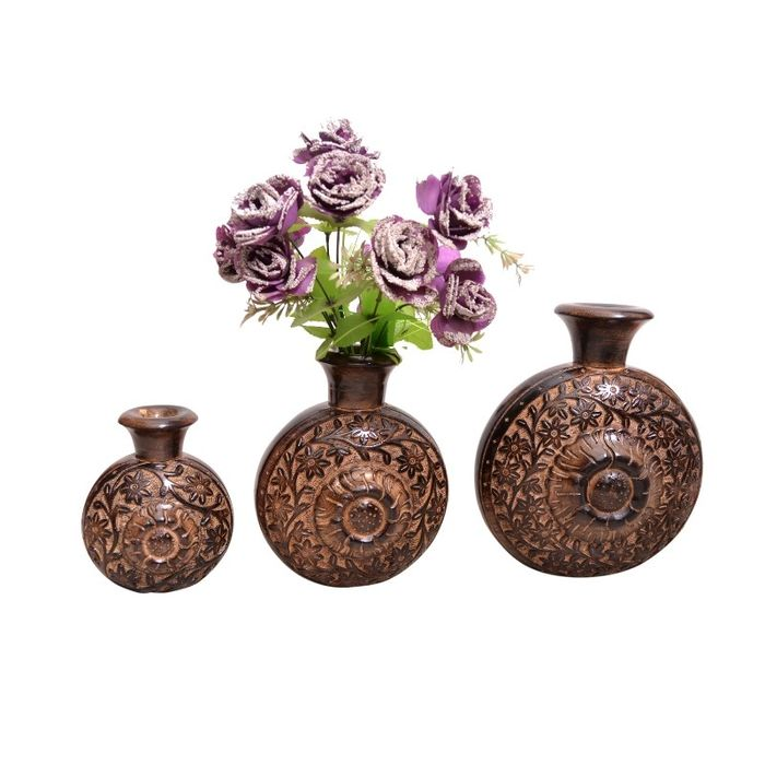 Onlineshoppee Wooden Antique Flower Vase With Handwork Design Pack Of 3, LxBxH-10x5x11.5 inch