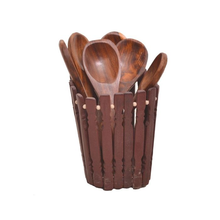 Onlineshoppee Beautiful Wooden Handmade Kitchen Ware Holder  With 6 Spoon,Size-4x3x4 Inch
