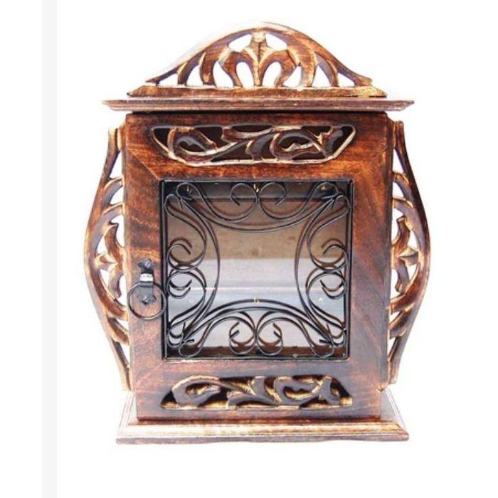 Onlineshoppee Handicraft Handicrafts Brown Wooden Decorative Key Holder, Size-lxbxh-20 x 8 x 25 cm