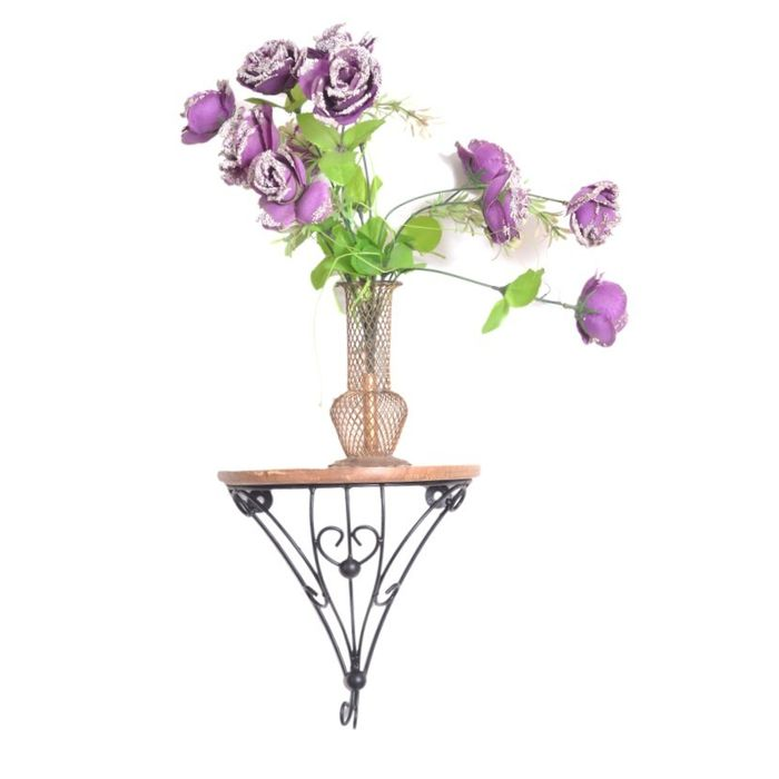 Onlineshoppee  Wooden & Wrought Iron Wall Bracket/Rack  Size (LxBxH-9.5x5x9.5) Inch