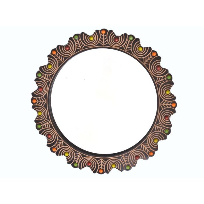Onlineshoppee Wooden Antique With Handicraft Work Fancy Design  Mirror Frame Size(LxBxH-15x1x15) Inch
