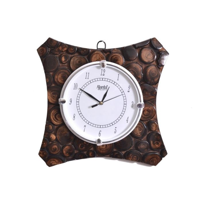 Onlineshoppee  Wooden Antique Wall Hanging Clock Size(LxBxH-11x1x11) Inch