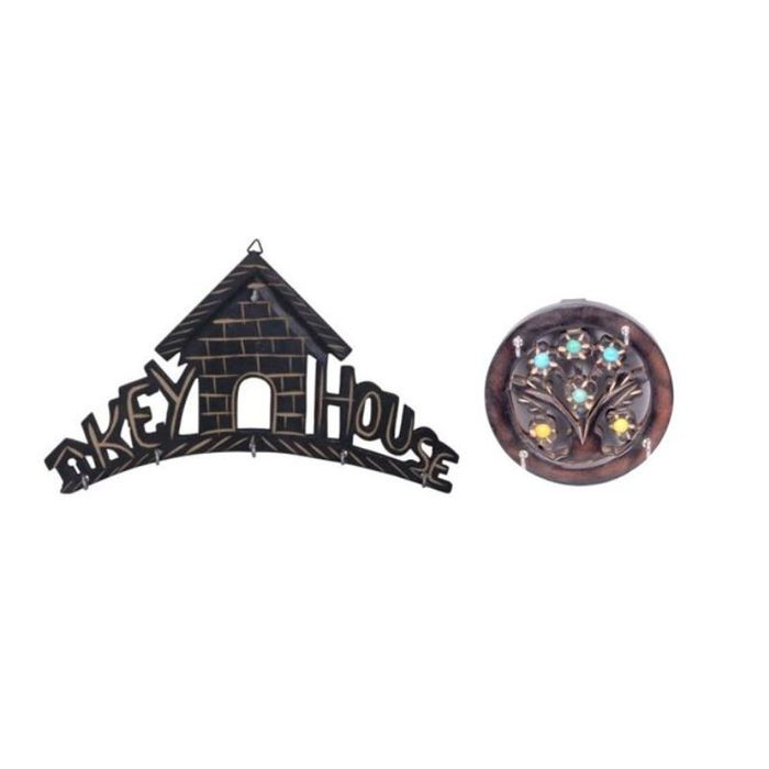Onlineshoppee Wooden Key House - Wall Decor Key Holder Pack Of 2