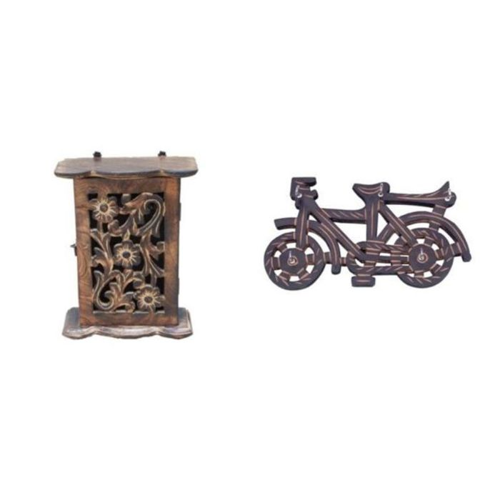 Onlineshoppee Wooden Handicraft Decorative Wall Hanging Box, Key Holder In Cycle Shape Size-lxbxh-8x3x210 Inch