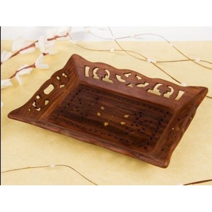 Onlineshoppee Wooden Handicrafts Designed Brown Tray Carving Size(lxb-13x9) Inch