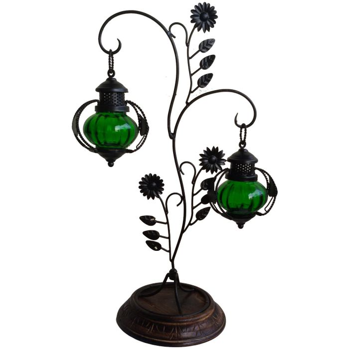OnlineShoppee Attractive Glass with Metal Candle Stand Lantern Green