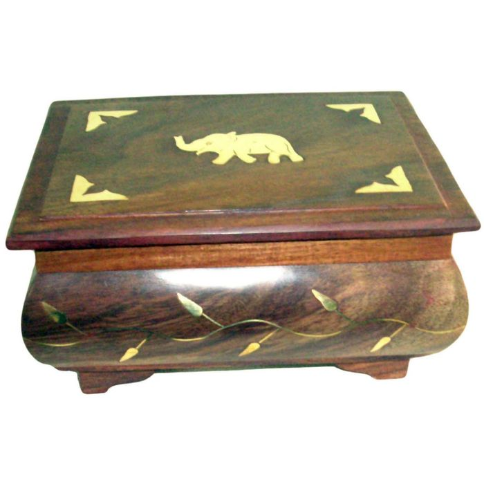 Onlineshoppee Wooden Antique Jewellery Box with Brass Carving