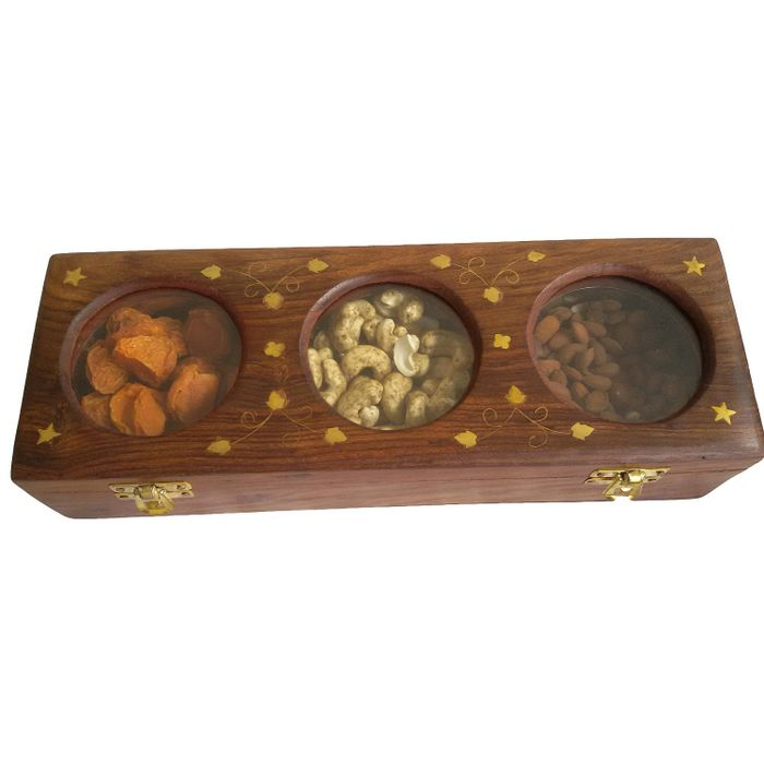 Onlineshoppee Wooden Dry Fruit Box with 3 Steel Bowls