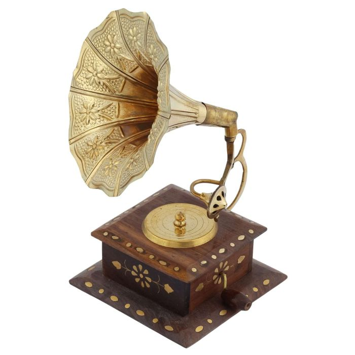 Handmade Wooden Vintage Dummy Gramophone Player Replica