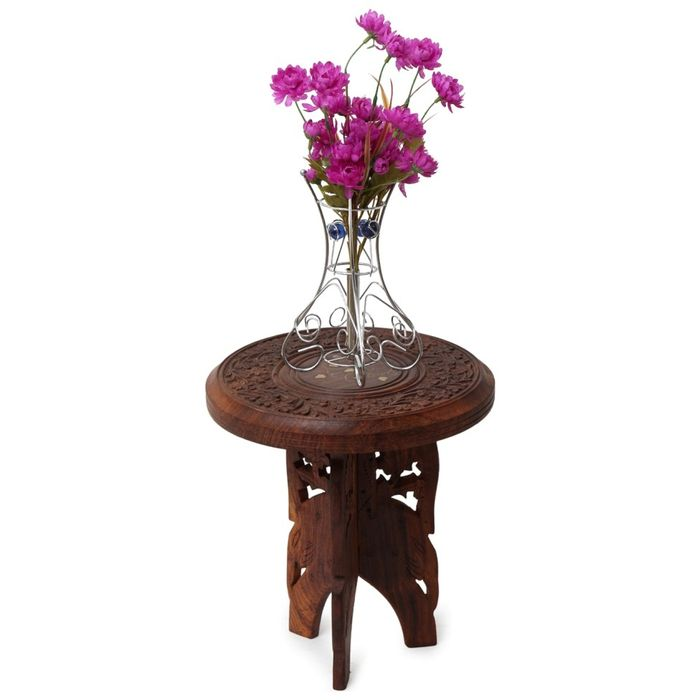 Onlineshoppee Antique Wooden Foldable Table With Handicrafts Beautiful Design 9 Inch