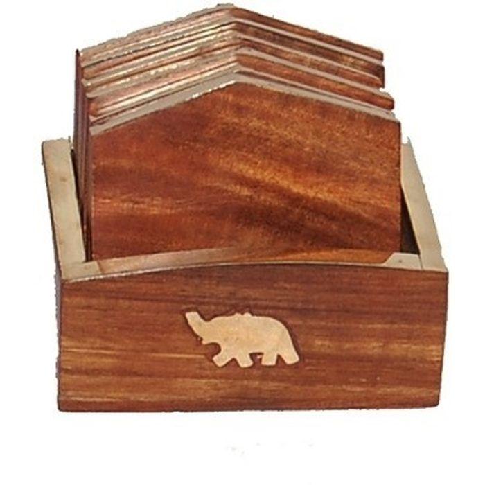 Onlineshoppee Handicrafts Brownish Wood Coaster Set