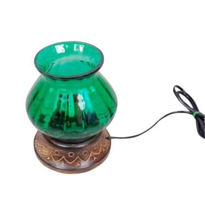Wooden & Iron Hand Carved Colored Electric Chimney Lamp Design  Green