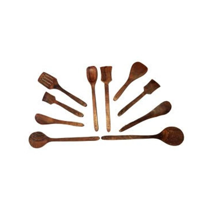 Onlineshoppee Wooden Spoon Set- 10 Pcs Brown