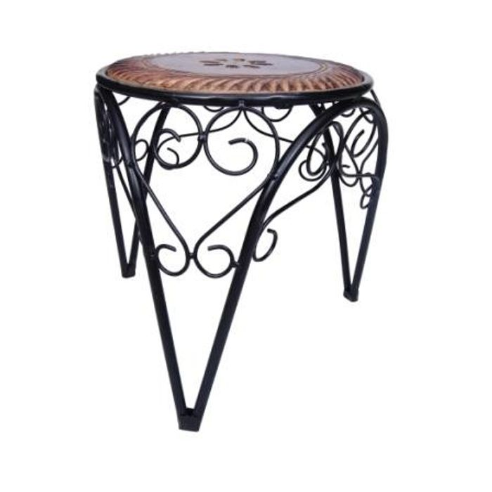Onlineshoppee Beautiful Design Wooden & Wrought Iron Stool/Chair