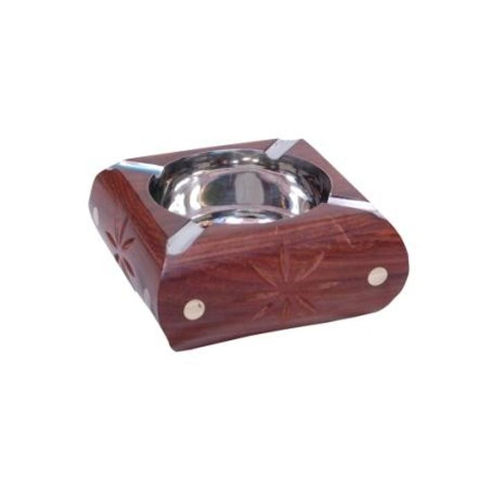 Onlineshoppee Wooden Premium Quality Antique Ashtray With Brass Inlay