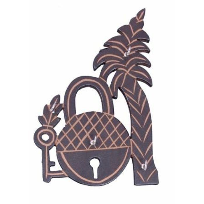 Wooden Key Holder In Lock Shape With Handicraft Design