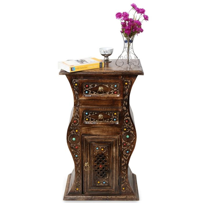 Wooden Hand Carved Cabinet With Unique Design