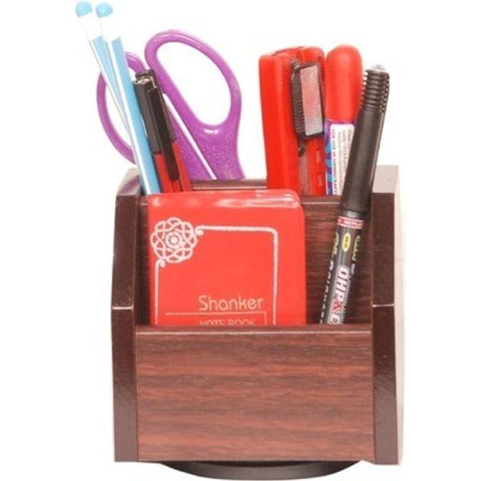 Onlineshoppee Wooden Revolving Pen Stand Office Stationery Holder