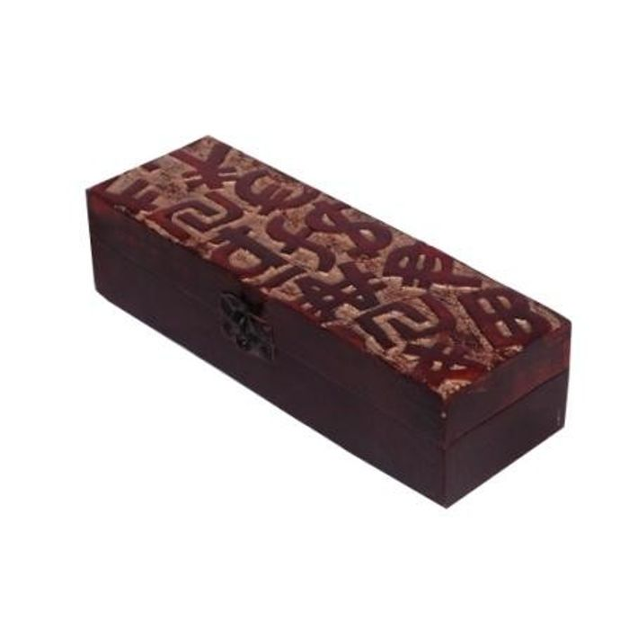Onlineshoppee Wooden Antique Brown Jewellery Box with Handicraft Design