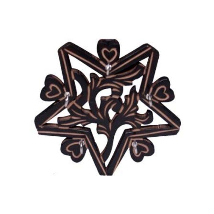 Onlineshoppee Wooden Key Holder In Star Shape With Handicraft Design