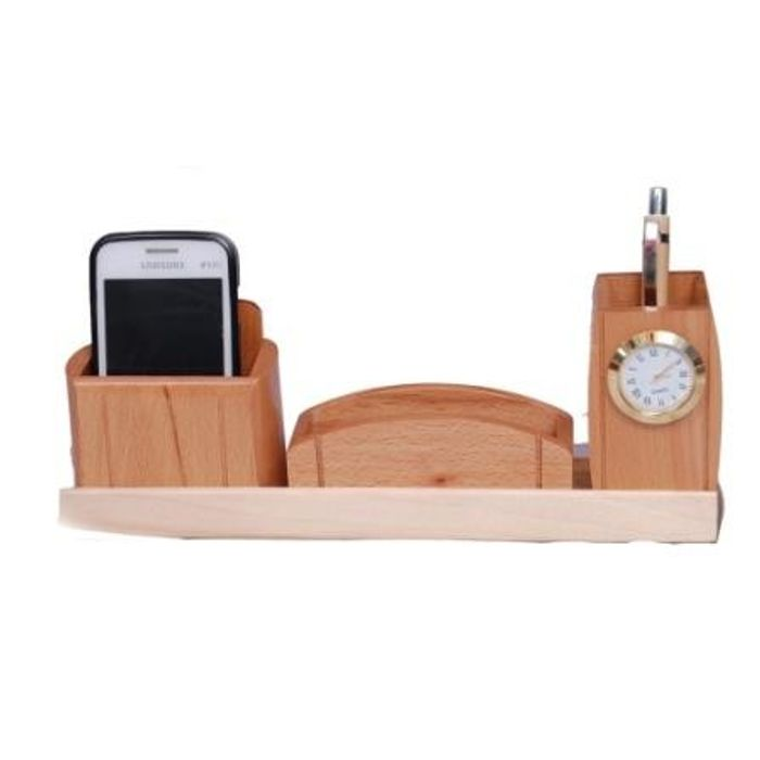 Onlineshoppee Beautiful Big Multipurpose Wooden Pen,Mobile and Visiting Card holder With Watch