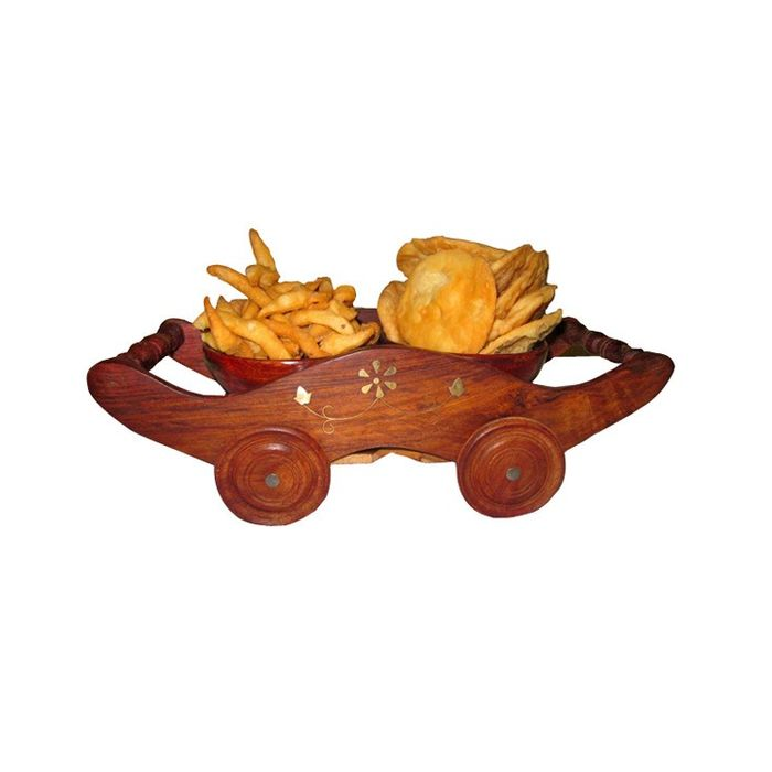 Onlineshoppee Wooden Dry Fruit and Snacks Trolley Small