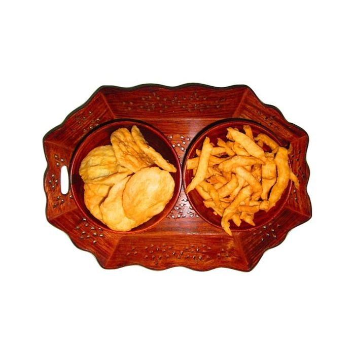 Onlineshoppee Wooden Dry Fruit and Snacks Hexagonal Tray