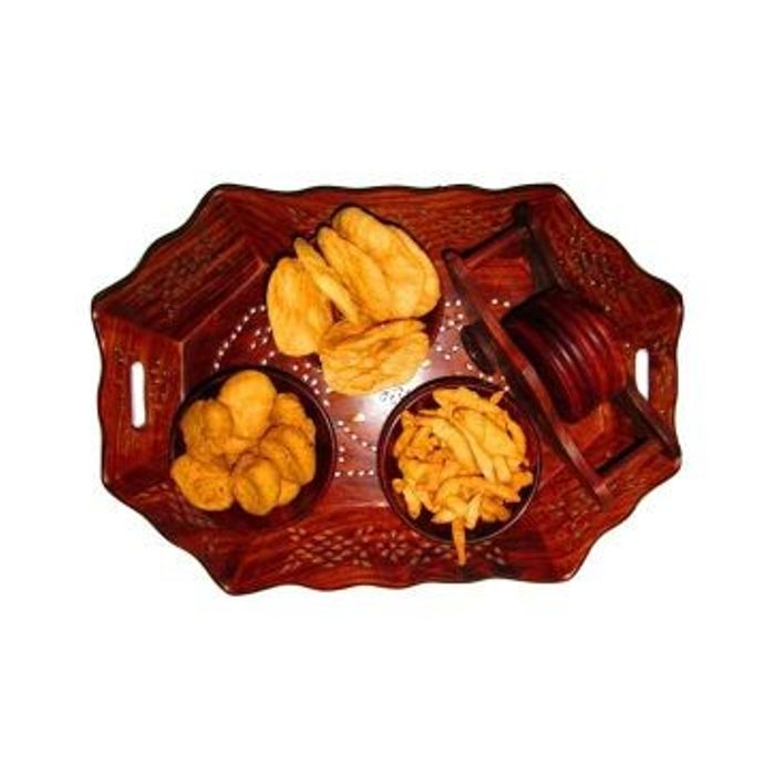 Onlineshoppee Wooden Holi Special Snacks Dry Fruit Hexagonal Tray With Coaster Set