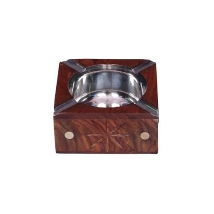 Onlineshoppee Wooden Antique Hand Carved Ashtray With Brass Inlay
