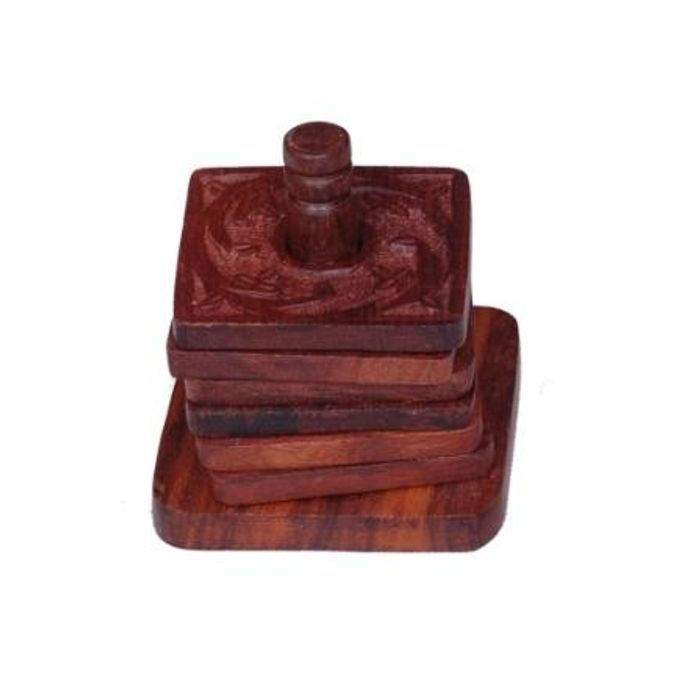 Onlineshoppee Wooden Tea Coaster With 6 Plates in Carving Design