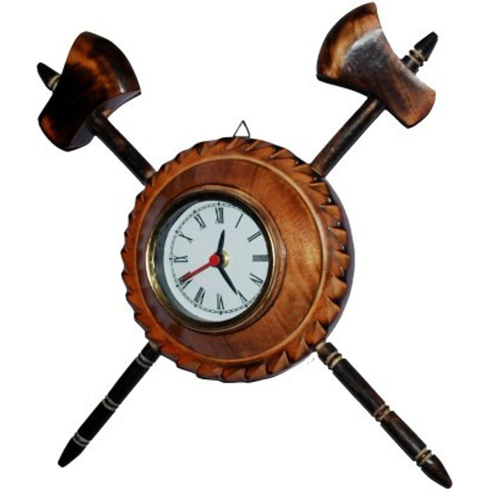 Onlineshoppee Antique Axe Analog Wall Clock