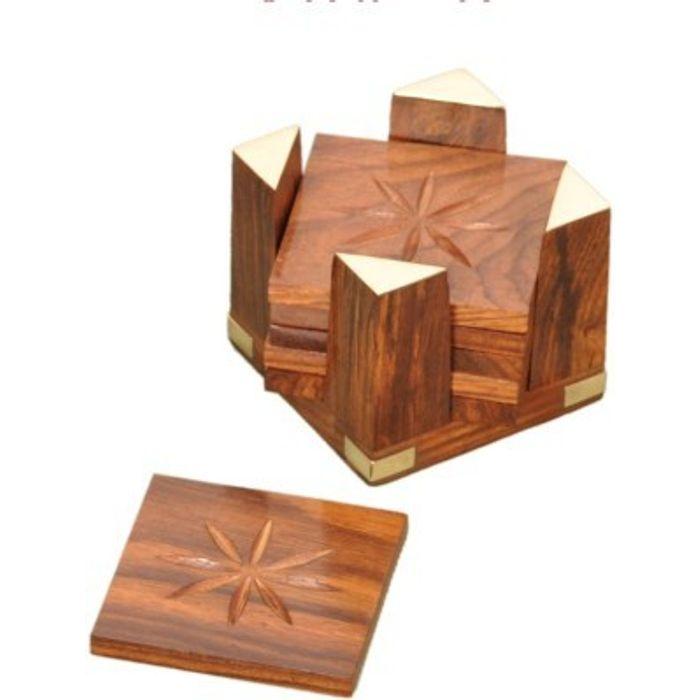 Onlineshoppee Handicrafts Brownish Wooden Coaster Set