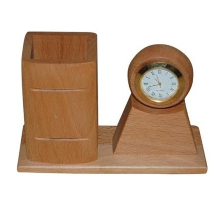 Wooden  Pen holder With Watch