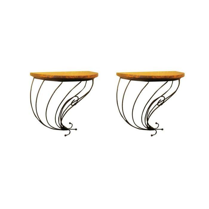 Onlineshoppee Wooden & Wrought Iron Wall Bracket Medium Pack of 2