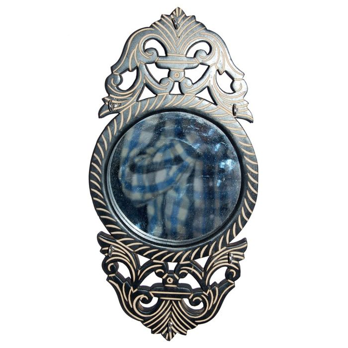 Onlineshoppee Wooden Key Holder with Mirror  Handicraft Design