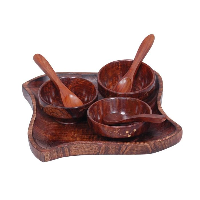 Onlineshoppee Wooden kitchen ware  Dry Fruits Tray & Snacks With 3 Bowl & 3 Spoon.