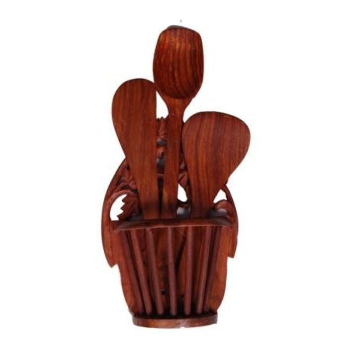 Onlineshoppee Beautiful Wooden Hand Carved Wall Hanging  Kitchen Ware Holder  With 3 Spoon