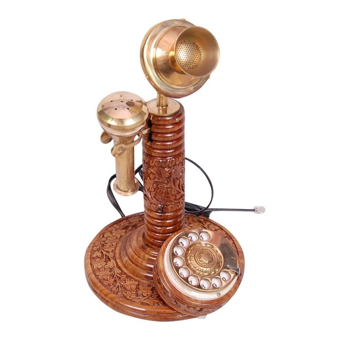 Onlineshoppee Antique Vintage Maharaja Style Brass Phone Fully Working.
