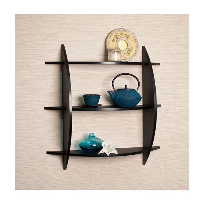 Onlineshoppee Beautiful Black 3 Tier Wooden Wall Shelves/Rack Size LxBxH-20x4x19 Inch