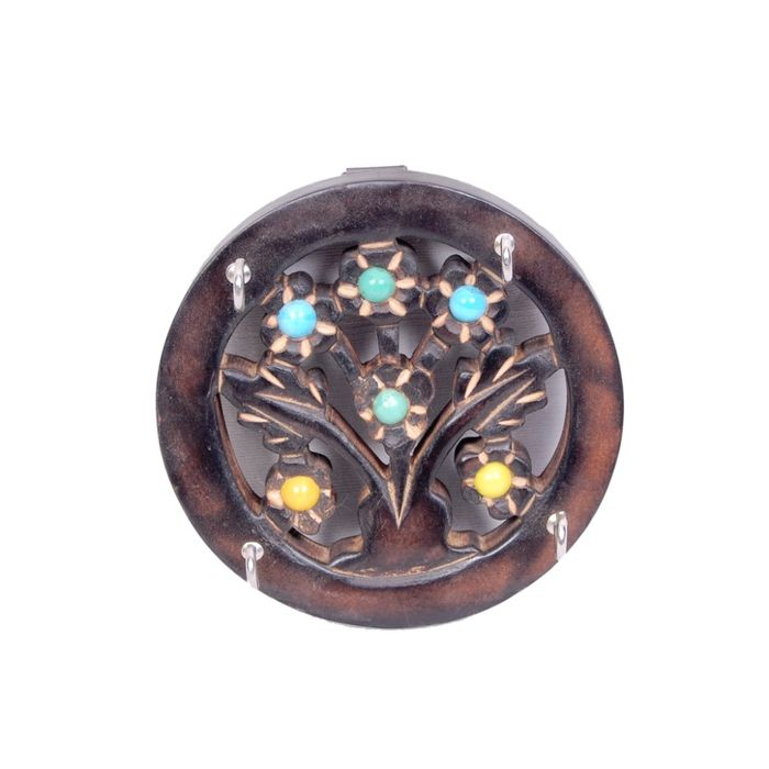 Onlineshoppee Wooden Key Holder In Round Shape  Size (LxBxH-12X2X12) Cm