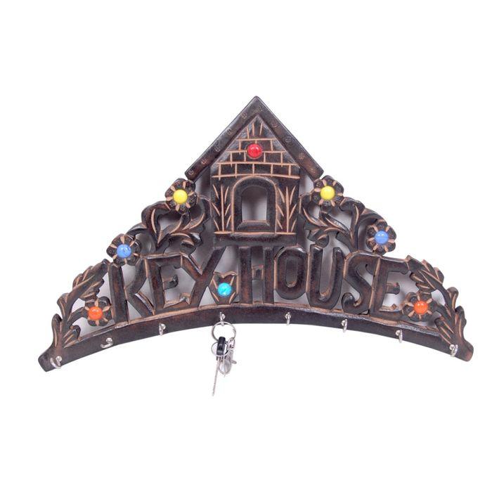Onlineshoppee Wooden Key Holder  Fancy House Design  Size (LxBxH-10X1X7) Inch