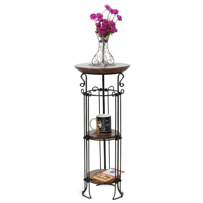 Onlineshoppee Wooden corner rack  home décor carved end table furniture shelve Size (LxBxH-13x13x31) Inch