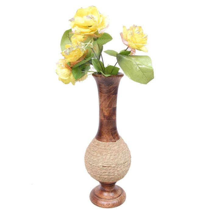 Onlineshoppee Beautiful Wooden Antique Hand Carved Flower Vase Size (LxBxH-6x6x16.5) Inch