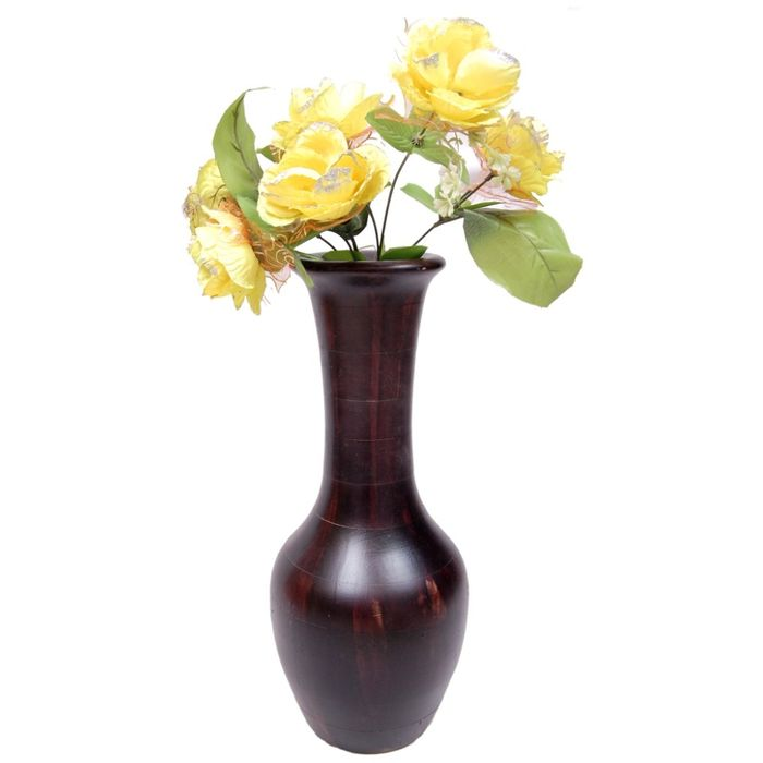 Onlineshoppee Beautiful Wooden Antique Hand Carved Flower Vase Size (LxBxH-7x7x17) Inch