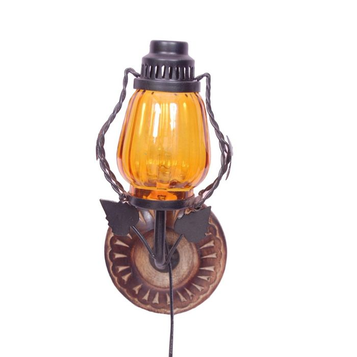 Onlineshoppee Wooden & Iron Fancy  Wall Hanging Electric Chimney Lamp  Sise(LxBxH-6x5x11)  Inch, Color Yellow