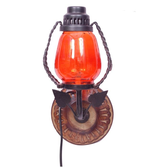 Onlineshoppee Wooden & Iron Fancy  Wall Hanging Electric Chimney Lamp  Sise(LxBxH-6x5x11)  Inch, Color  Orange