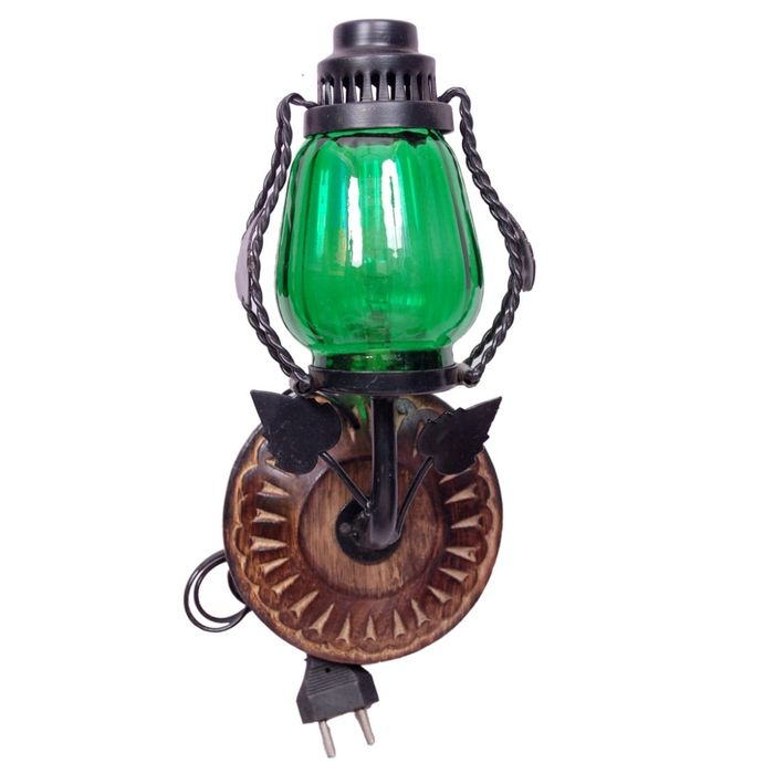 Onlineshoppee Wooden & Iron Fancy  Wall Hanging Electric Chimney Lamp  Sise(LxBxH-6x5x11)  Inch, Color  Green