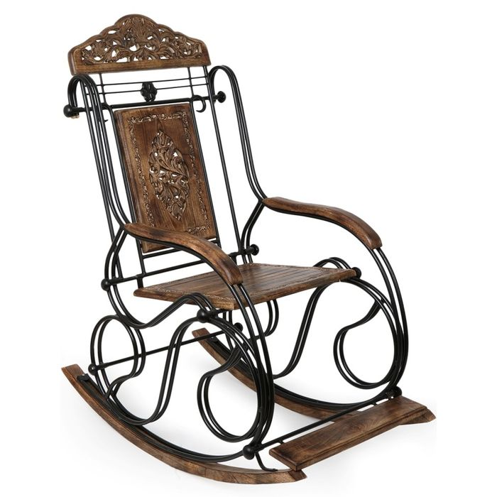 Premium Quality Wooden and Iron Rocking Chair Fully Foldable | Grandpa Chair